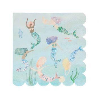 16 serviettes sirène ecofriendly