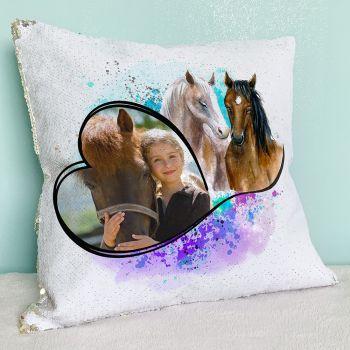 Coussin pailleté sequin personnalisé décor cheval color