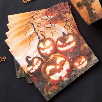 20 Serviettes Halloween lanterne