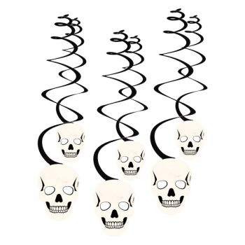 6 suspensions swirl halloween skull
