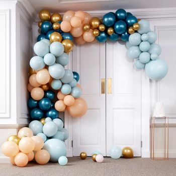 Kit arche luxe de 200 ballons teal and gold
