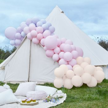 Kit arche luxe de 200 ballons pink and purple