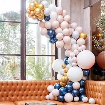 Kit arche luxe de 200 ballons navy and gold
