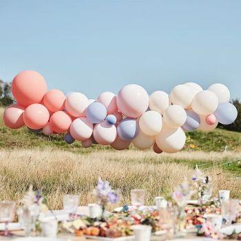 Kit arche de 60 ballons pastel color