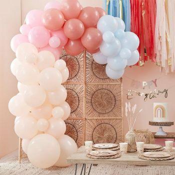 Kit arche de 75 ballons pastel