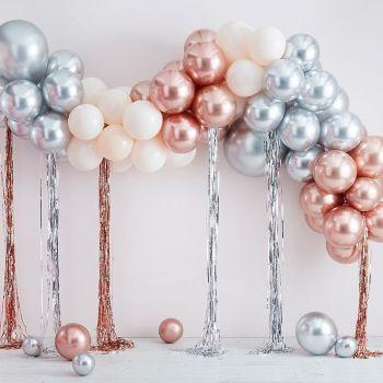 Kit arche luxe de 95 ballons chrome rose gold, argent et blanc