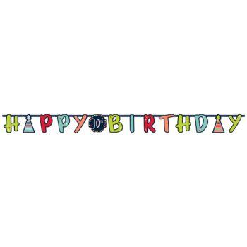 Banderole personnalisable Happy Birthday color black