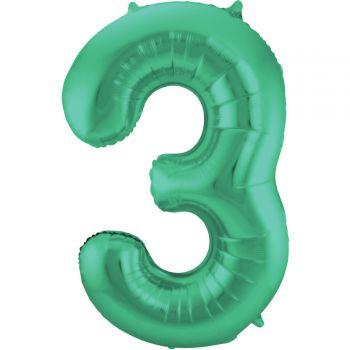 Ballon géant chiffre vert métallisé N°3 86cm