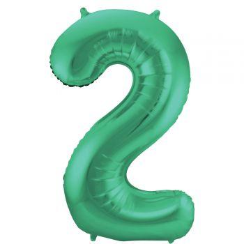 Ballon géant chiffre vert métallisé N°2 86cm