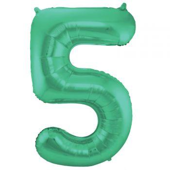 Ballon géant chiffre vert métallisé N°5 86cm
