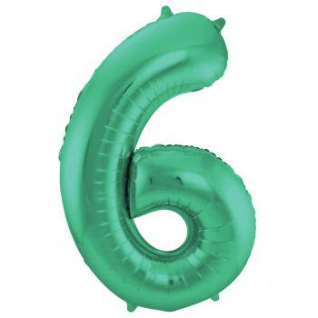 Ballon géant chiffre vert métallisé N°6 86cm