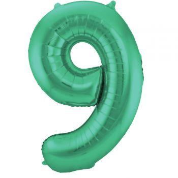 Ballon géant chiffre vert métallisé N°9 86cm