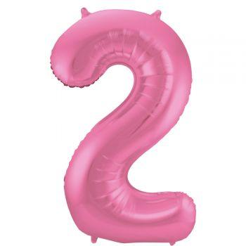 Ballon géant chiffre rose métallisé N°2 86cm