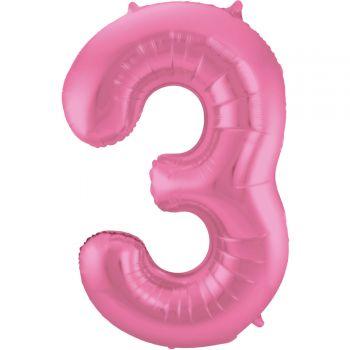 Ballon géant chiffre rose métallisé N°3 86cm
