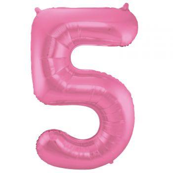 Ballon géant chiffre rose métallisé N°5 86cm