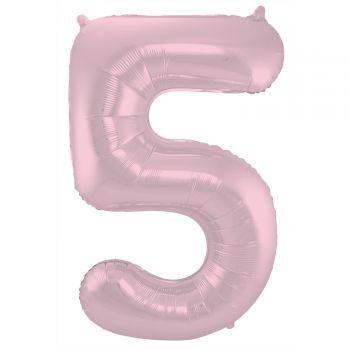 Ballon géant chiffre rose pastel mat N°5 86cm