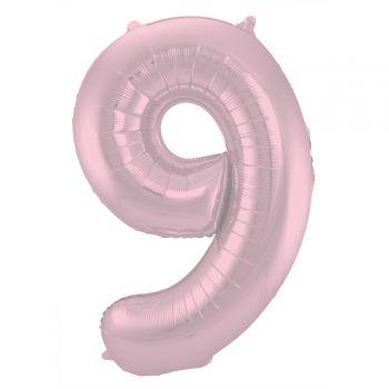 Ballon géant chiffre rose pastel mat N°9 86cm