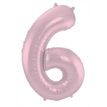 Ballon géant chiffre rose pastel mat N°6 86cm