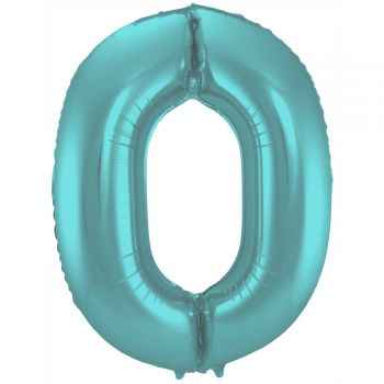 Ballon géant chiffre aqua pastel mat N°0 86cm