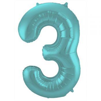 Ballon géant chiffre aqua pastel mat N°3 86cm