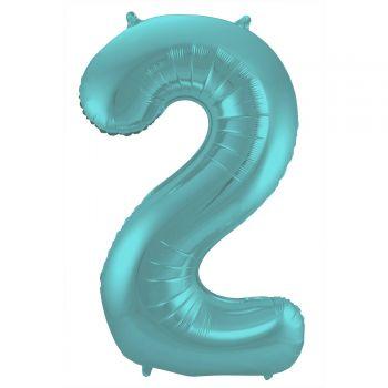 Ballon géant chiffre aqua pastel mat N°2 86cm