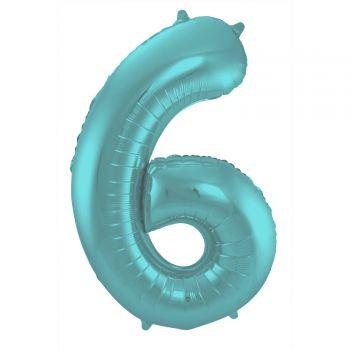 Ballon géant chiffre aqua pastel mat N°6 86cm