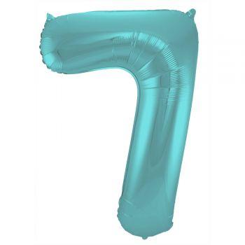 Ballon géant chiffre aqua pastel mat N°7 86cm