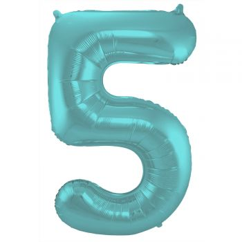 Ballon géant chiffre aqua pastel mat N°5 86cm