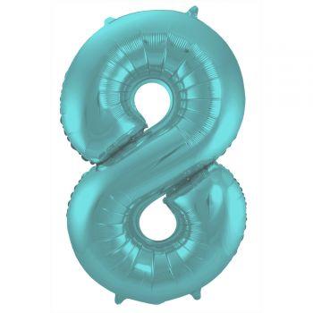 Ballon géant chiffre aqua pastel mat N°8 86cm