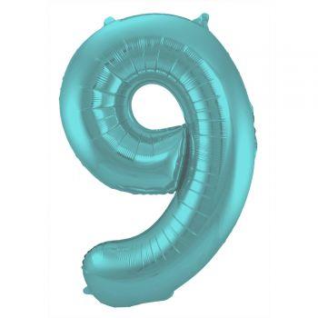Ballon géant chiffre aqua pastel mat N°9 86cm