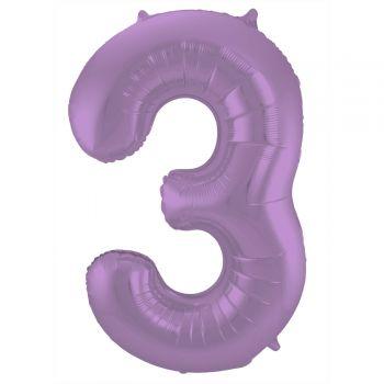 Ballon géant chiffre violet mat N°3 86cm