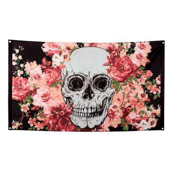 Tenture skull flower halloween
