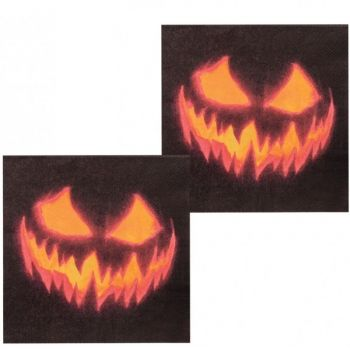 12 Serviettes creepy pumpkin halloween
