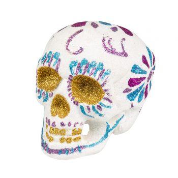 Crâne mexicain pailleté blanc