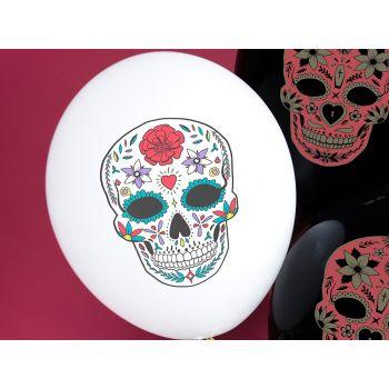 6 Ballons Dia de los muertos blanc