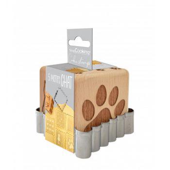 Cube tampons à biscuit en bois chat + emporte pièce Scrapcooking