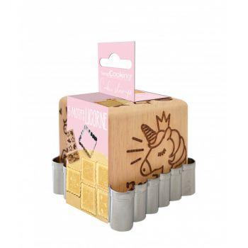 Cube tampons à biscuit en bois licorne + emporte pièce Scrapcooking