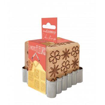 Cube tampons à biscuit en bois flower + emporte pièce Scrapcooking