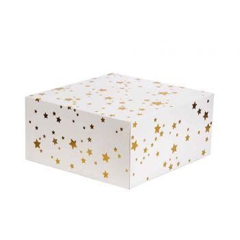 Boite à gâteau étoilés or 26x26cm
