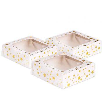 3 Boites à gâteaux étoilés or 11.4x11.4cm