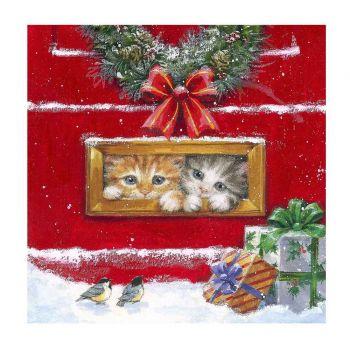 20 Serviettes chatons de Noël