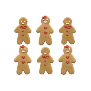 6 figurines décors Gingerbread en sucre