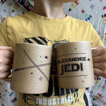Mug pailleté à personnaliser Jedi