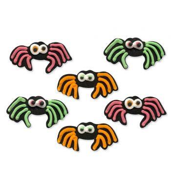 6 figurines décors Spider neon Halloween en sucre