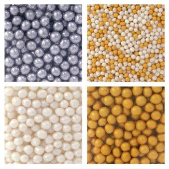 Assortiment Perles en sucre doré et argenté Scrapcooking