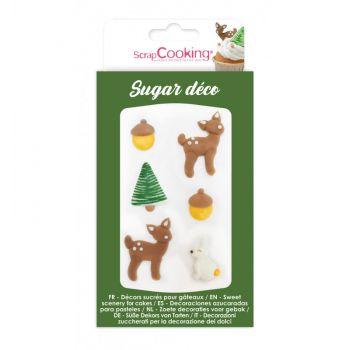 6 Décors sucre Noël forêt enchantée Scrapcooking