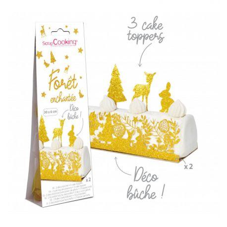 HABILLEZ VOTRE BÛCHE - Décorez votre bûche sur le thème forêt enchantée avec deux jolies décos en papier aptes au contact...