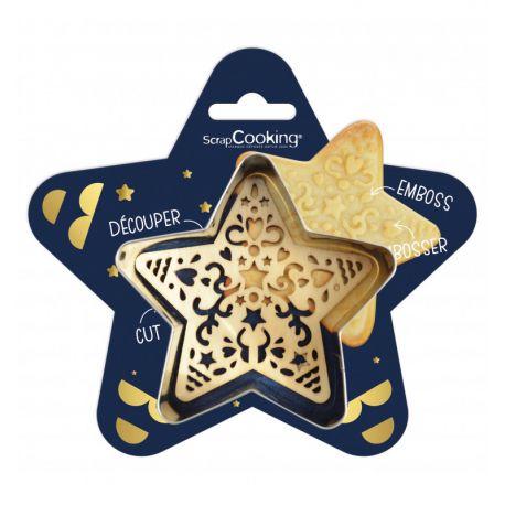 RÉALISEZ DE JOLIS BISCUITS ÉTOILE - Un kit comprenant un découpoir étoile et un embosseur étoile pour créer des biscuits, sablés...