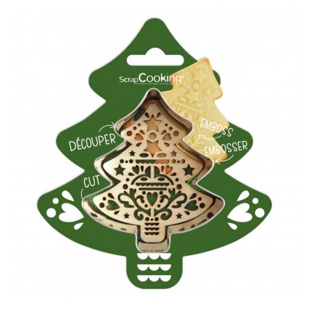 RÉALISEZ DE JOLIS BISCUITS SAPIN- Un kit comprenant un découpoir étoile et un embosseur étoile pour créer des biscuits, sablés...