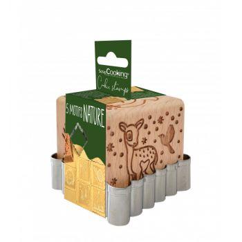 Cube tampons à biscuit en bois forêt enchantée + emporte pièce Scrapcooking